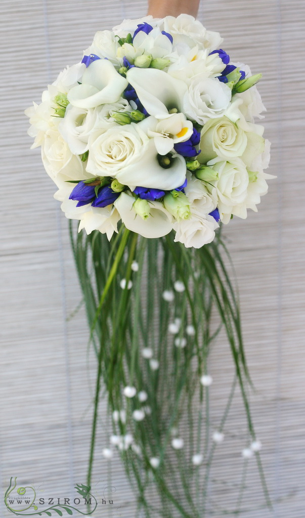 Bridal bouquet in blue white color, with bear grass tail