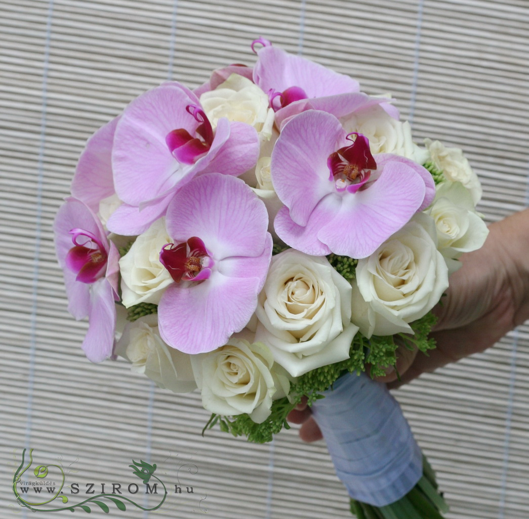 Bridal bouquet with pink phalaenopsis orchids and roses (white, pink)