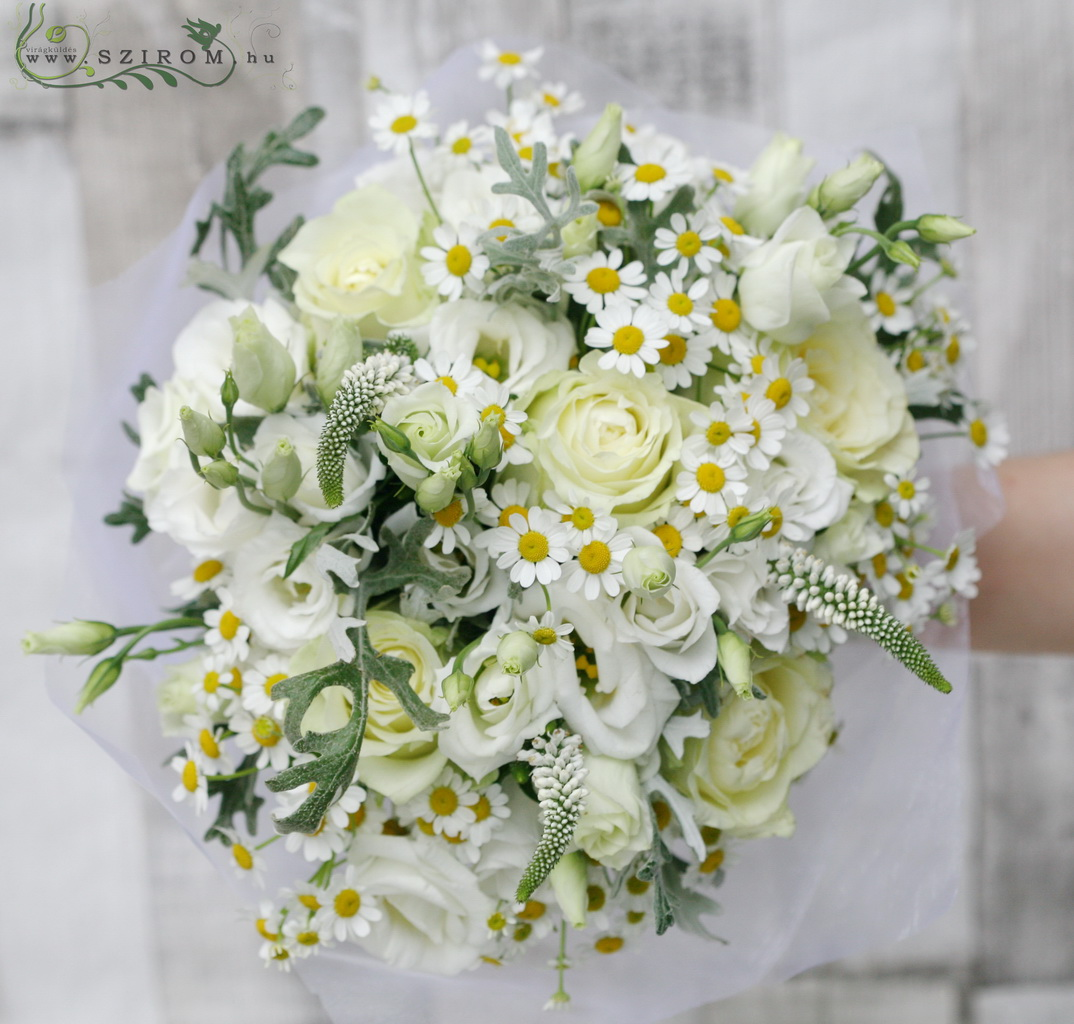 Bridal bouquet (rose, lisianthus, camomile, veronica, white)