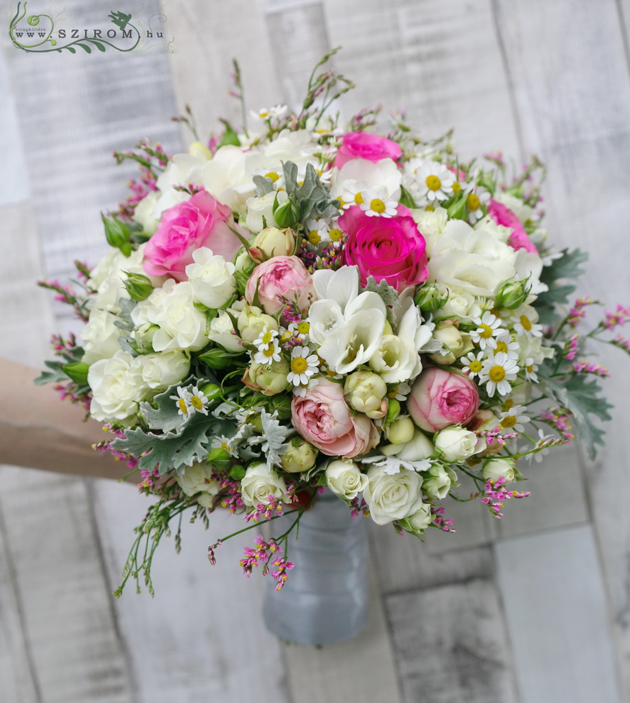 Bridal bouquet (rose, spray rose, english rose with wild flowers, white, pink)