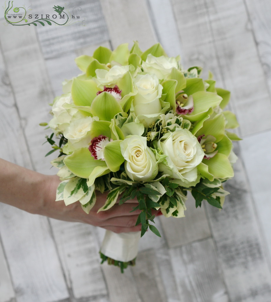 Bridal bouquet with rose and cymbidium orchid (green, white)
