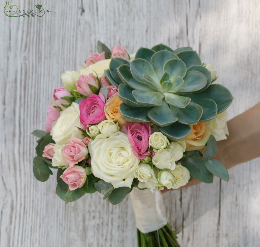 Bridal bouquet with rose, buttercup, stonecrop (white, pink, peach)