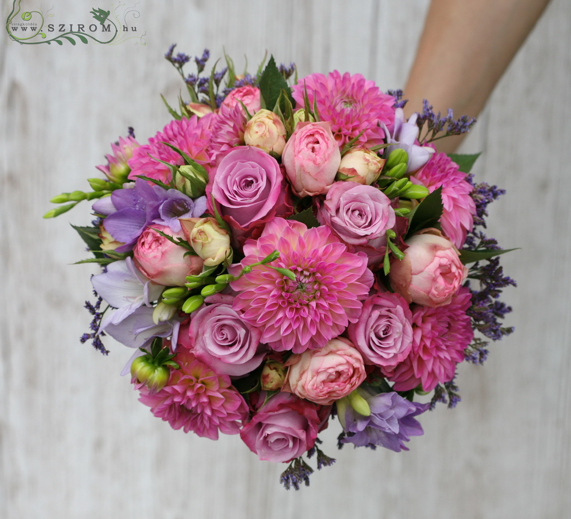 Bridal bouquet with dahlia, rose, fresia (purple, pink)