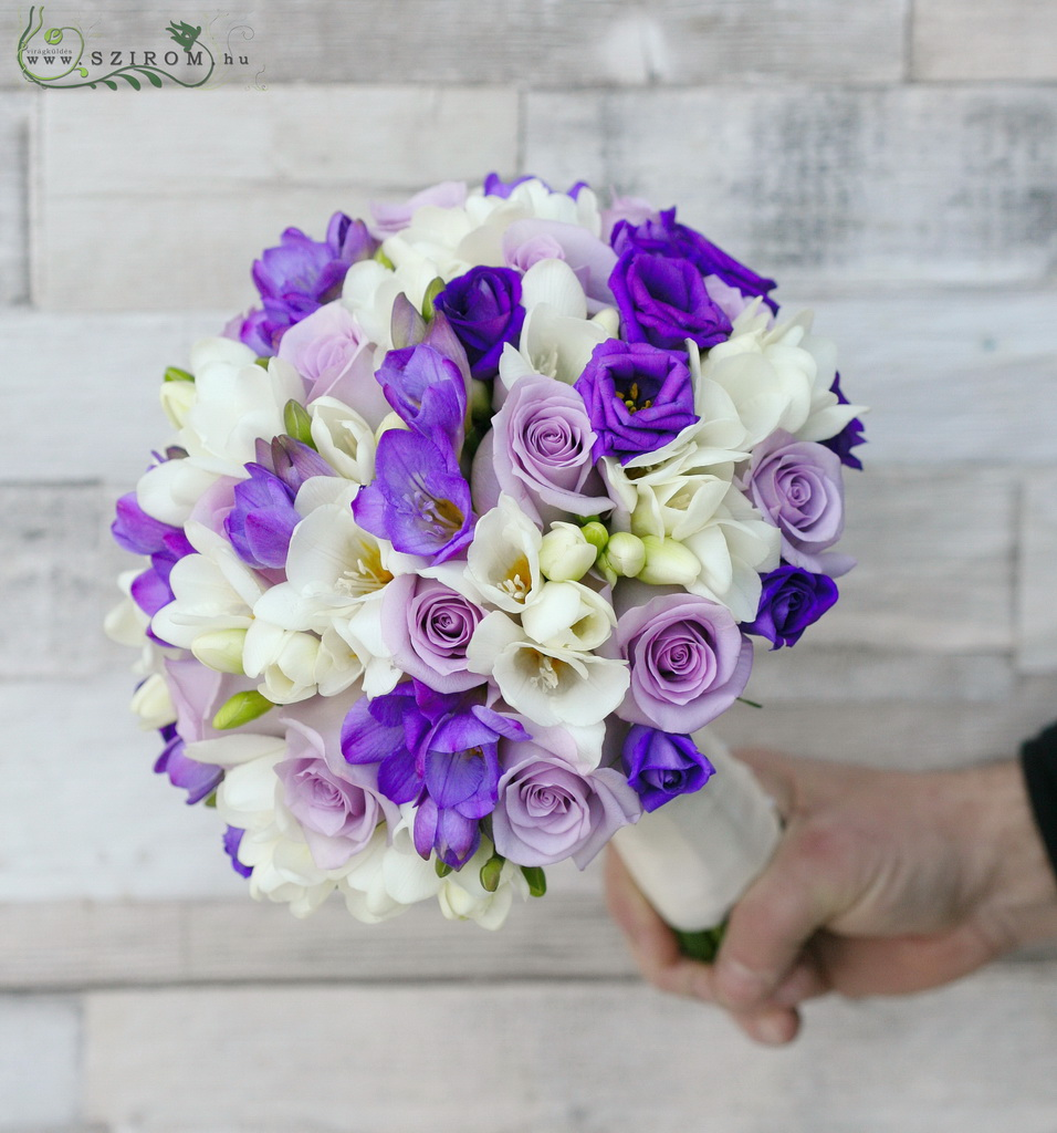 Bridal bouquet ( freesia, rose, lisianthus, purple, white)