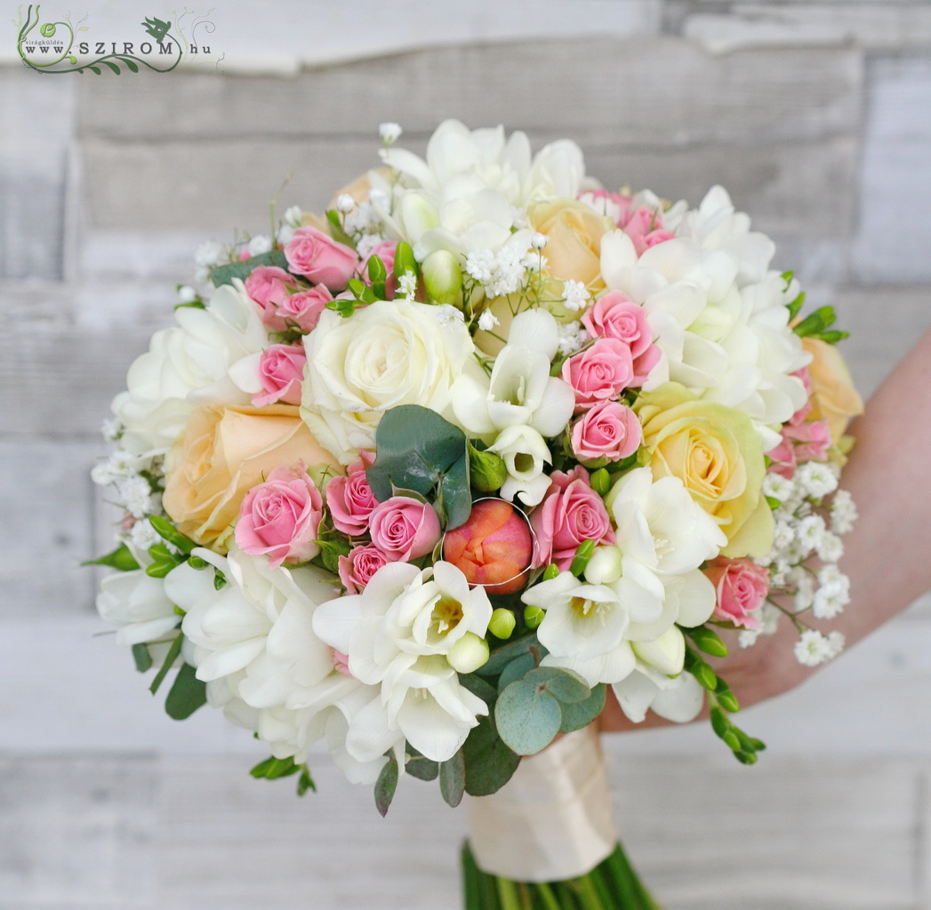 Bridal bouquet (tulip, freesia, rose, spray rose, gypsophila, white, pink)