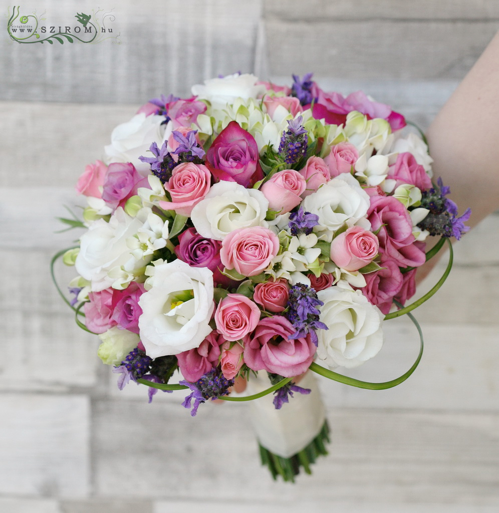 Bridal bouquet (lisianthus, rose, spray rose, bouvardia, lavander, pink, white, purlple)