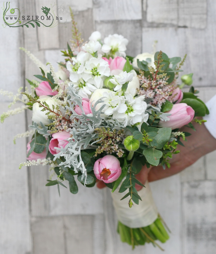 Bridal bouquet (tulip, astilbe, viol, white, pink)