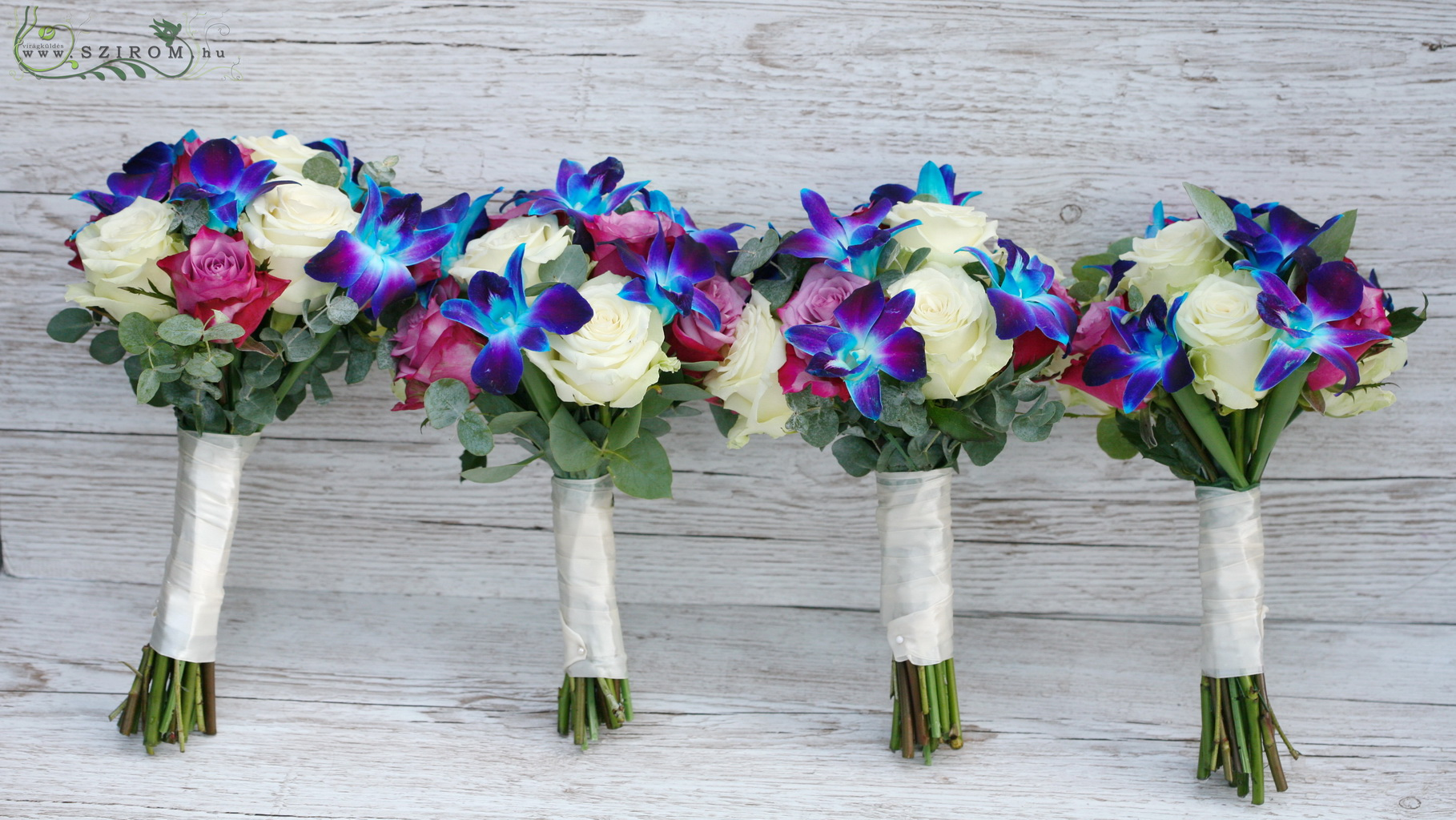Bridal bouquet (rose, dendrobium orchid, blue, white, pink)