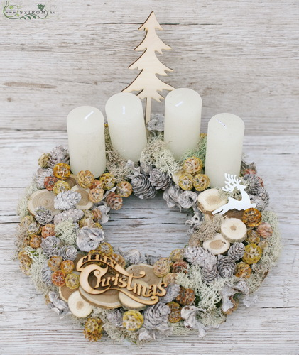 Advent wreath with natural tones (28cm) - virágküldés