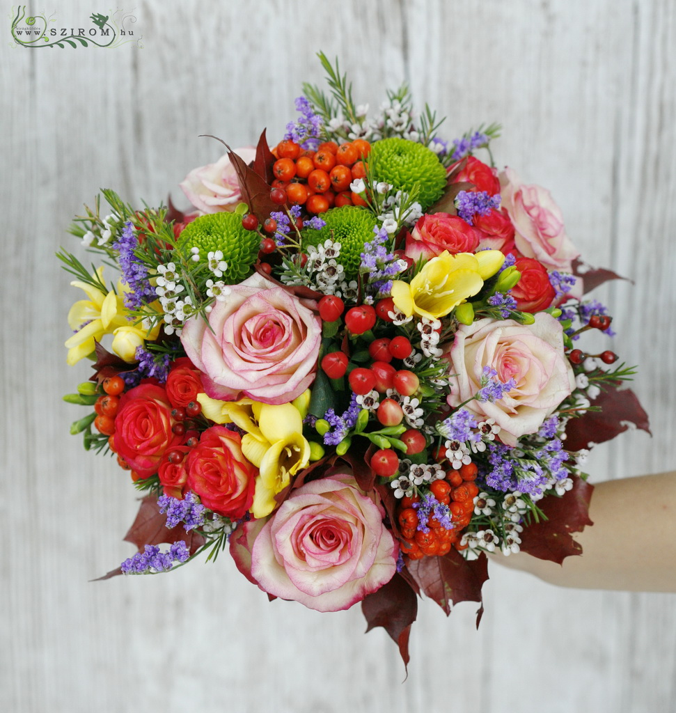 bridal bouquet (rose, hyperum, spray roses, chrysanthemum, wax, freesia, orange, yellow, green)
