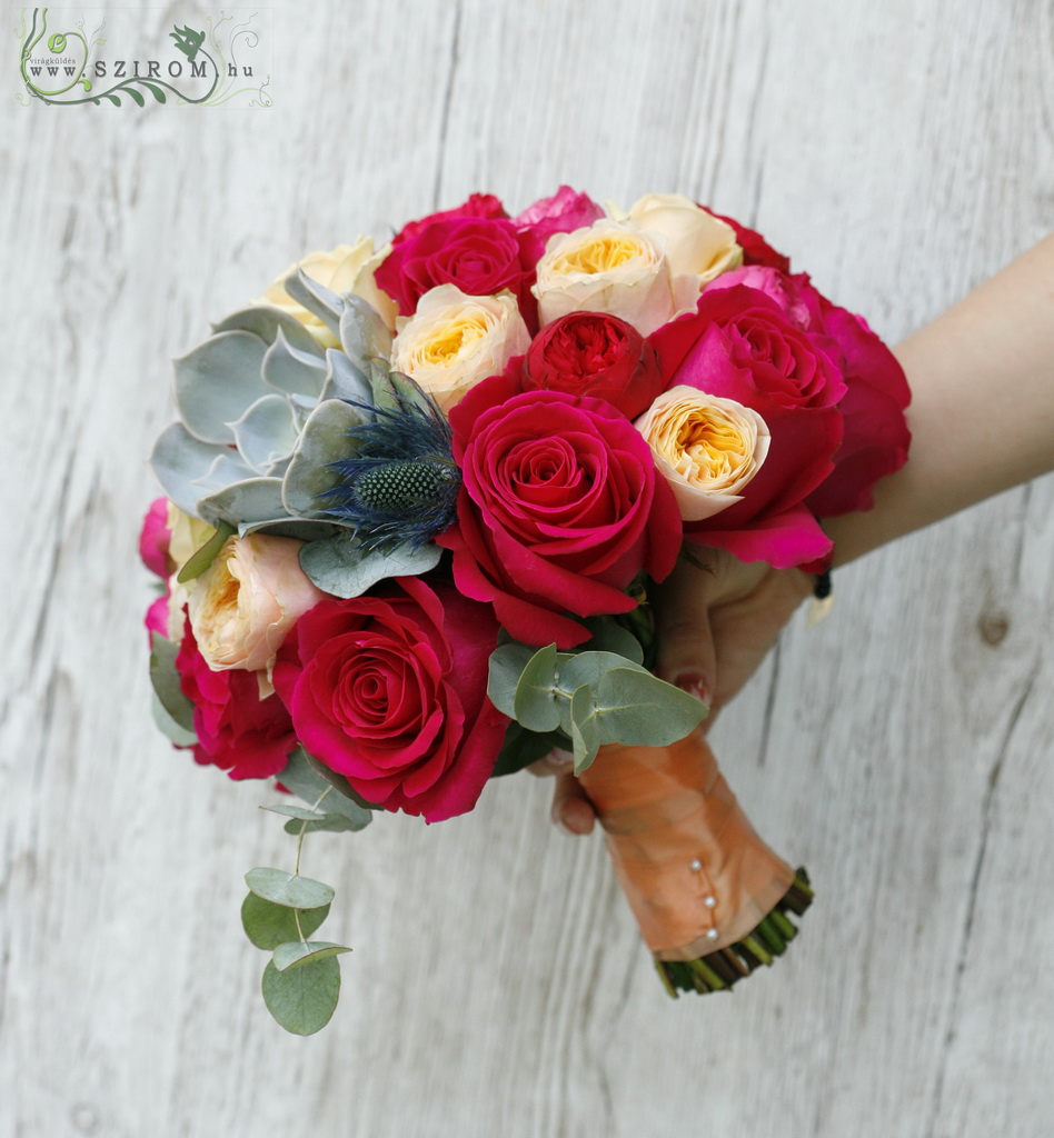 bridal bouquet (rose, english rose, sempervivum, eryngium, red, peach)