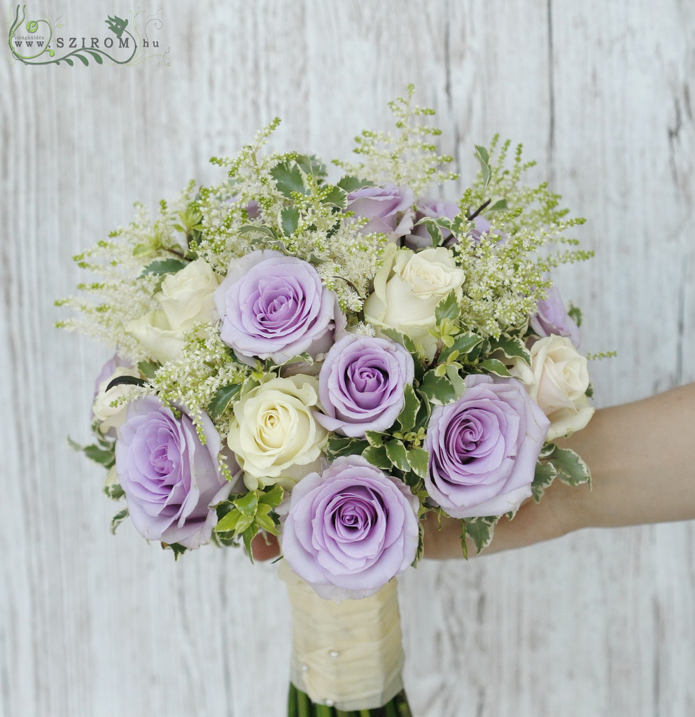 bridal bouquet (rose, astilbe cream, purple, pasztell)