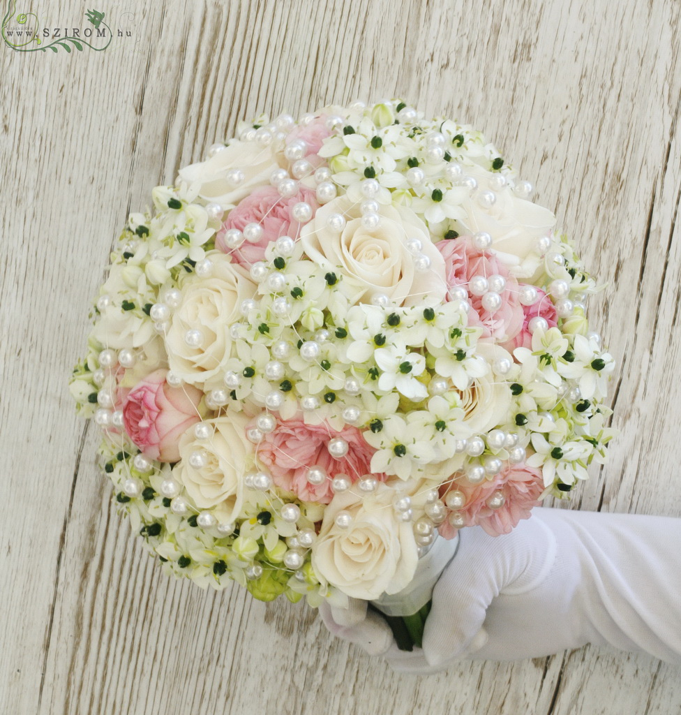 bridal bouquet (rose, ornithogalum, pastel, white, pink)