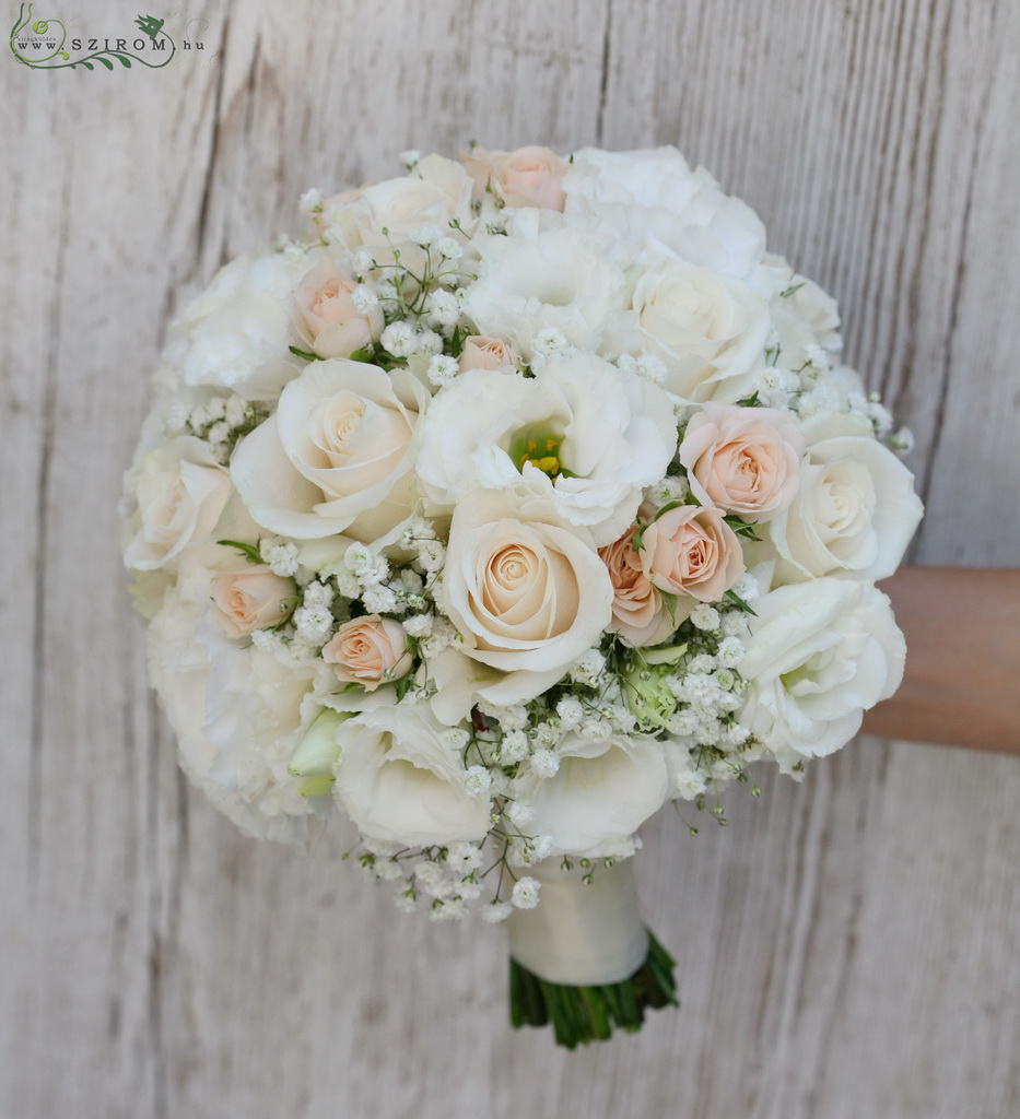 bridal bouquet (rose, lizianthus, spray roses, baby breath, white, peach)