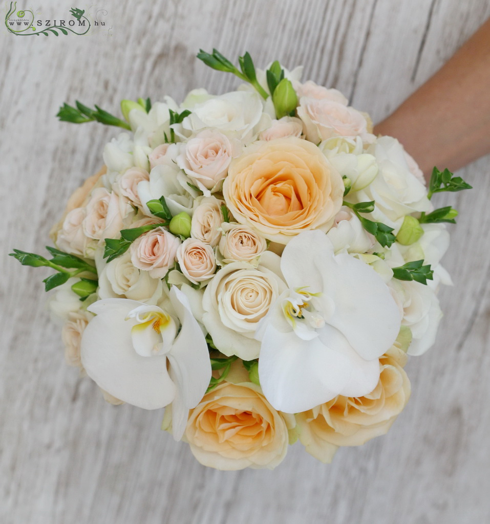 bridal bouquet (rose, spray roses, freesia, phalaenopsis orchidea, white, peach)