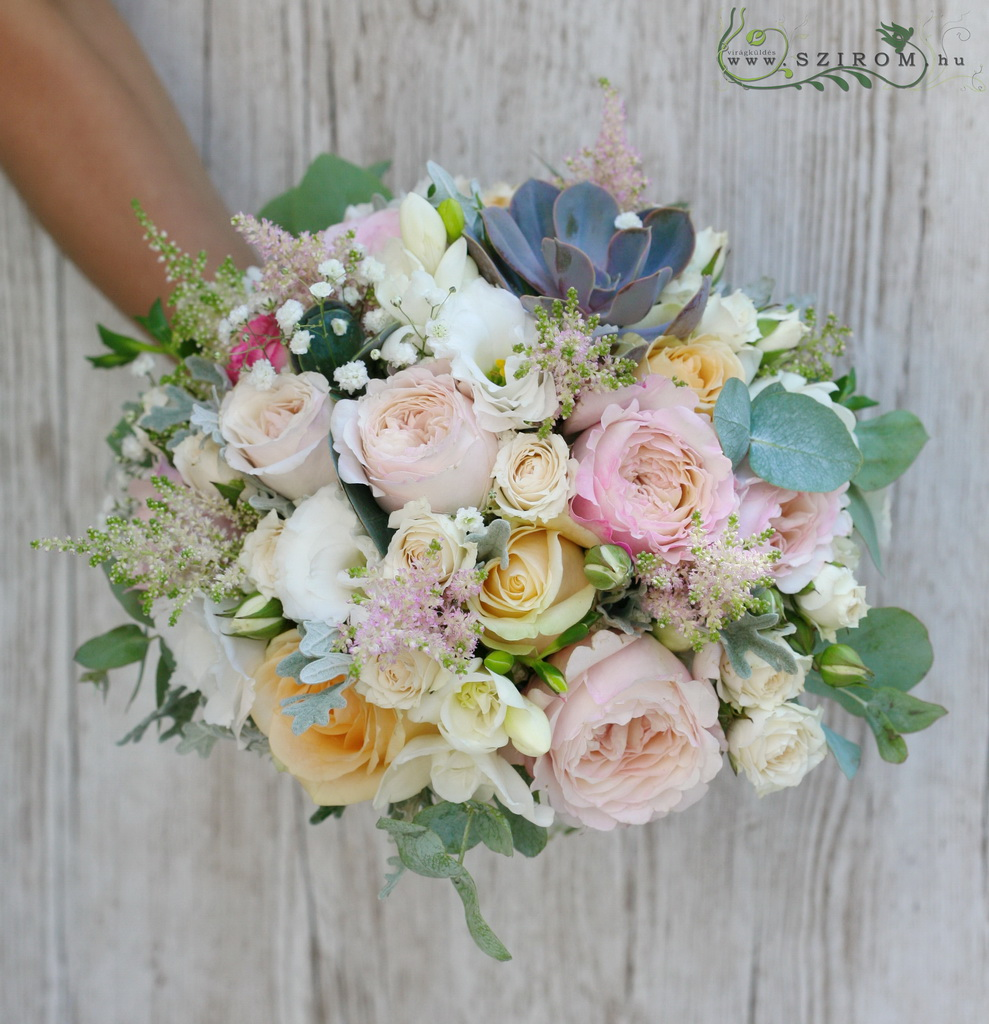 bridal bouquet (david austin rose, lisianthus, sempervivum, freesia, astilbe, spray roses, pink, white)