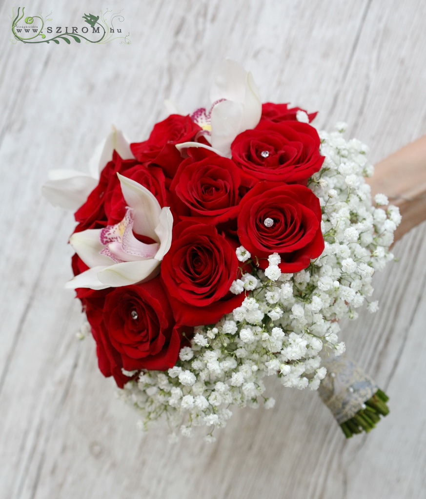 bridal bouquet (rose, cymbidium orchid,baby breath,red,white)