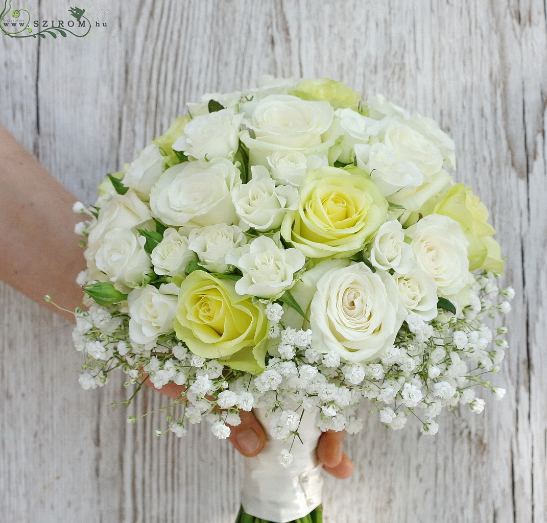 bridal bouquet (roses, spray roses, baby breath, white, yellow)