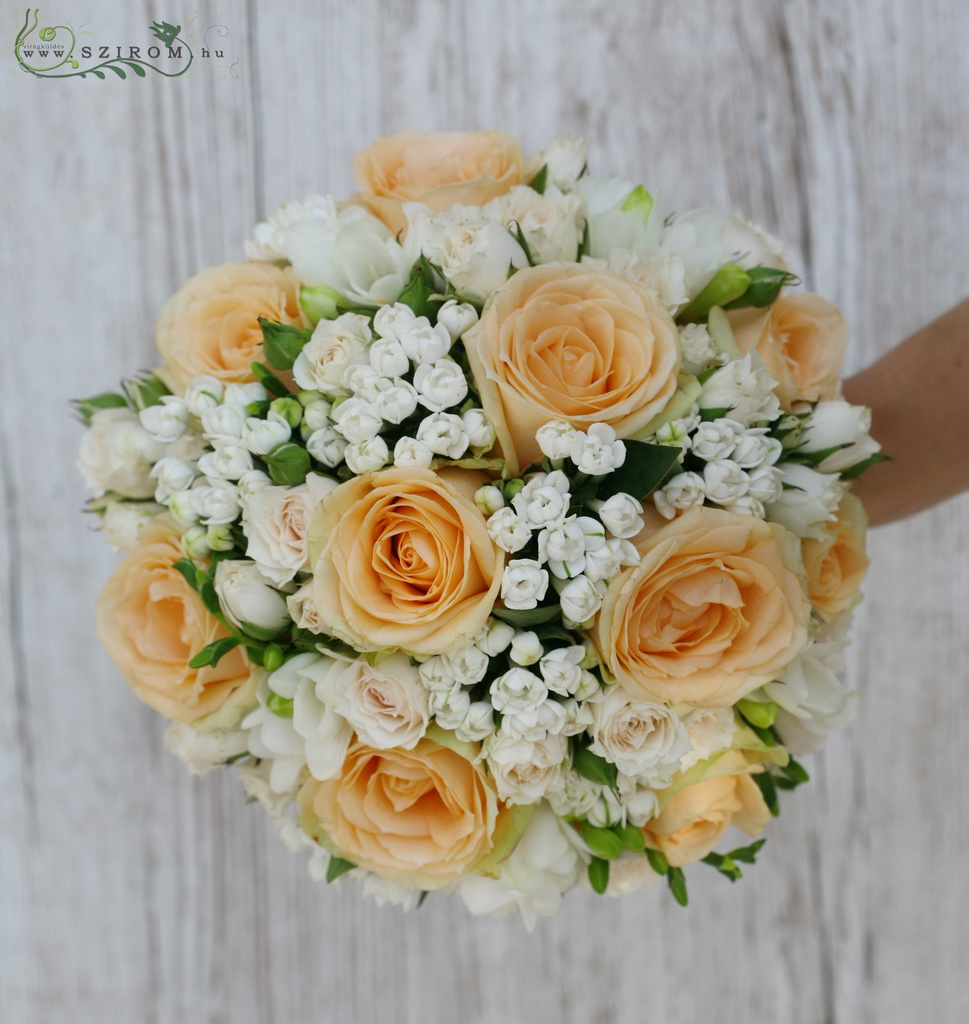 bridal bouquet (roses, buvardia, spray roses, peach, white)