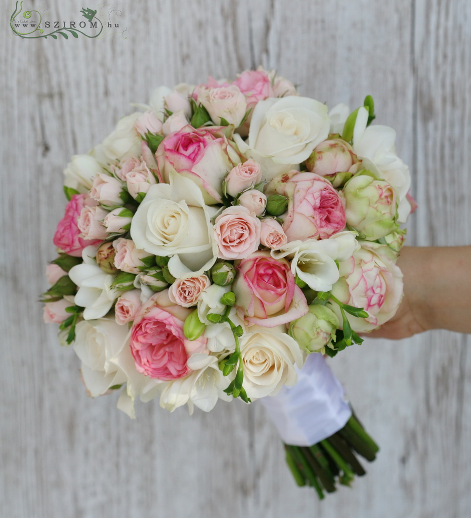 bridal bouquet (roses, spray roses, english roses, freesia, pink)