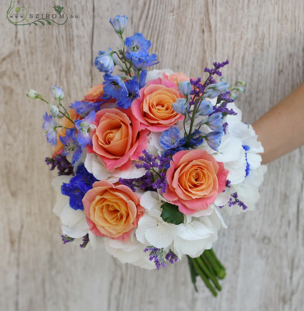 bridal bouquet (hydrangea, delphinium, roses, limonium, orange, blue, white)
