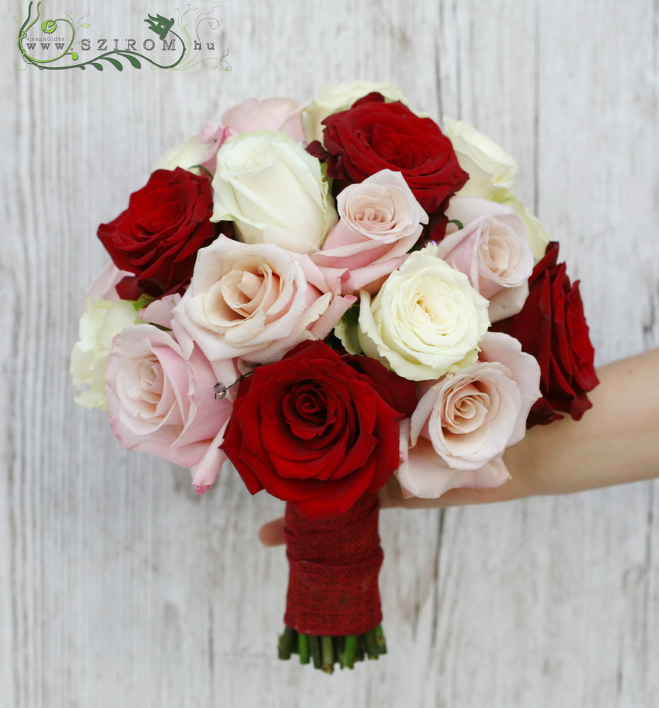 bridal bouquet (roses, red, white, pink)