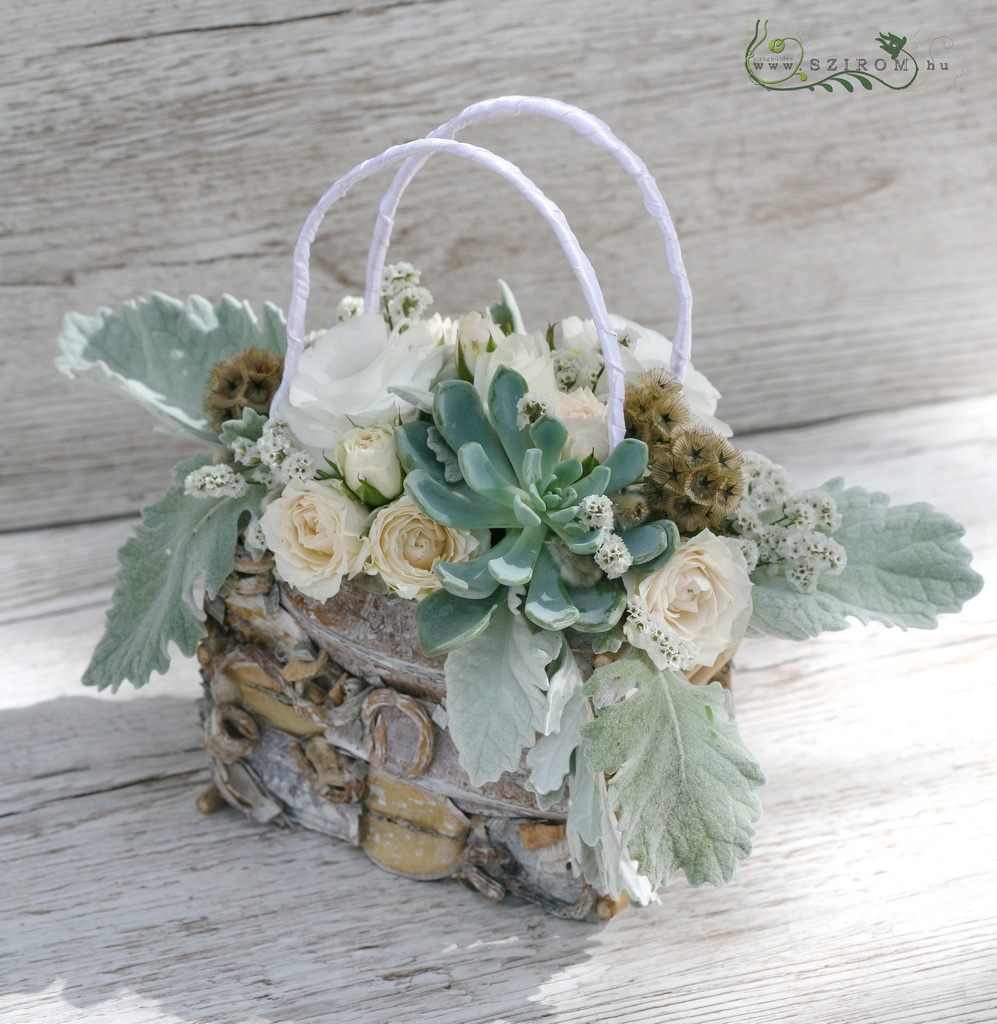 bridal bag bouquet (lizianthus, spray roses, sempervivum, white)