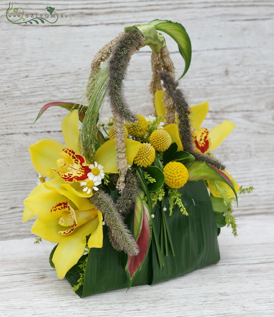 bridal bouquet (cymbidium orchid, craspedia, yellow)