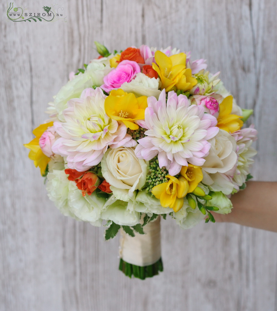 bridal bouquet ( dahlia, roses, freesia, spray roses, lizianthus, yellow, pink, white)