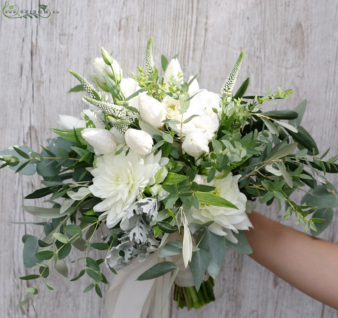 bridal bouquet (veronica, tulips, dahlia, lizianthus, white)