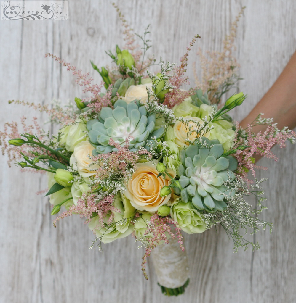bridal bouquet (sempervivum, roses, lizianthus, astilbe, green, peach)