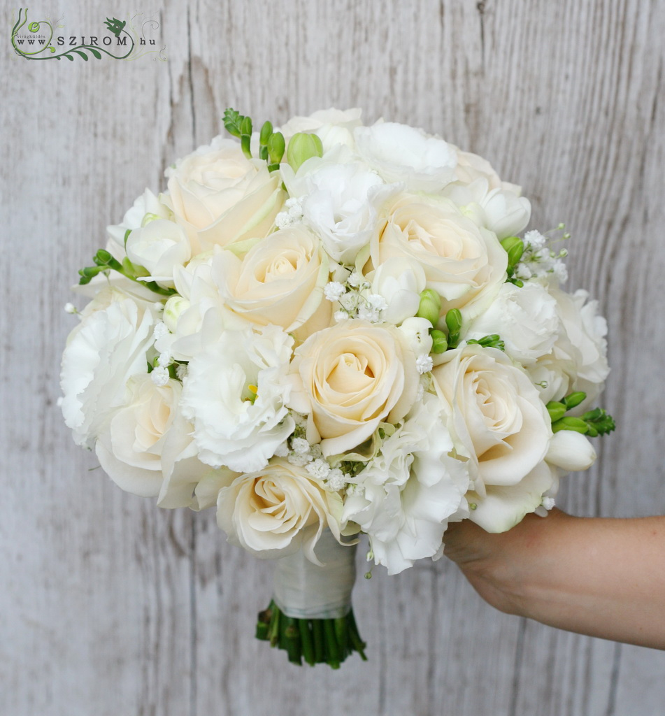 bridal bouquet (lizianthus, roses, baby breath, freesia, white, peach)