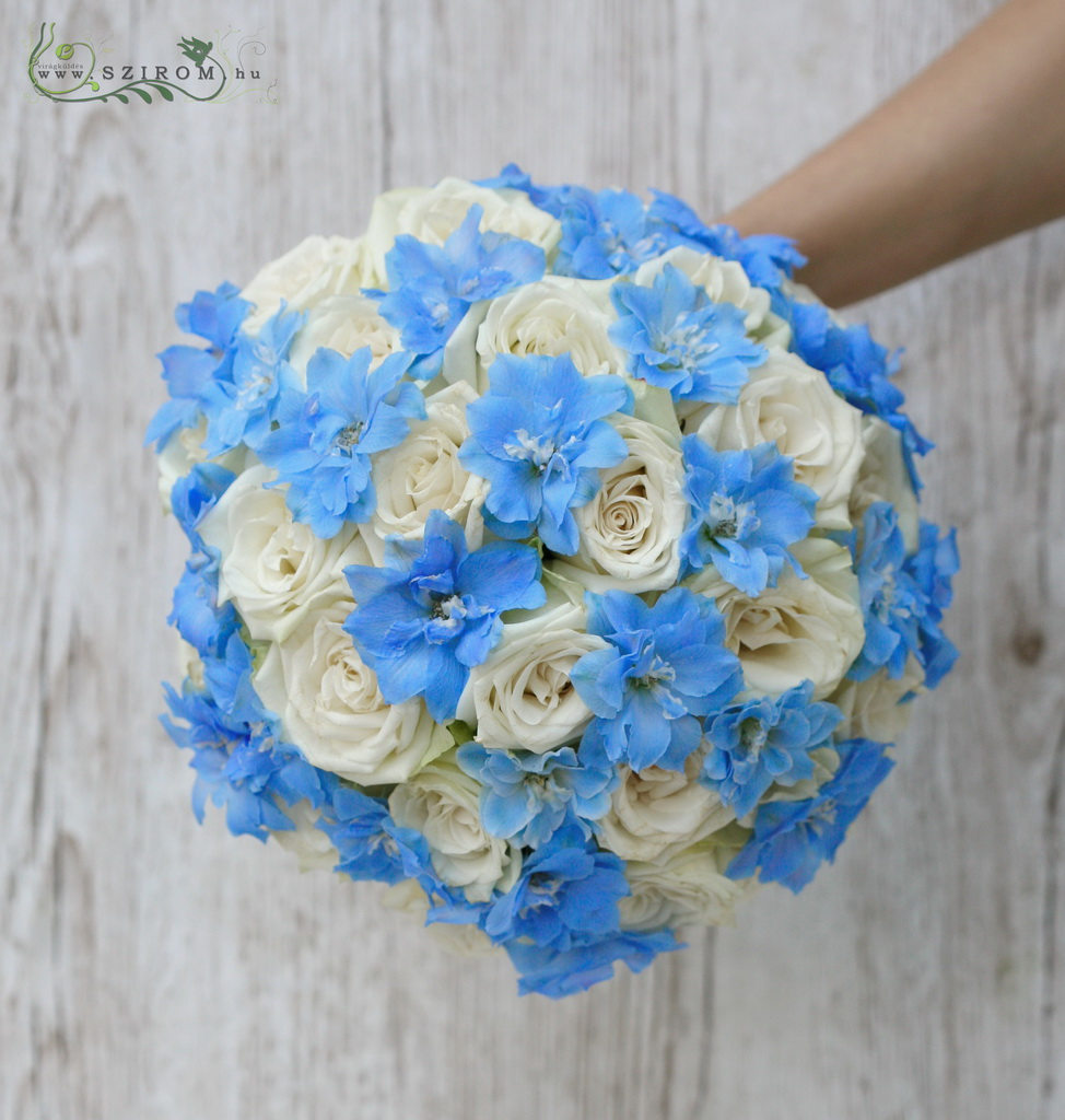 bridal bouquet (rose, delphinium,  roses, blue, white)