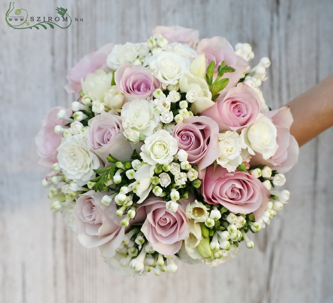 bridal bouquet (roses, freesia, spray roses, bouvardia, white, pruple)