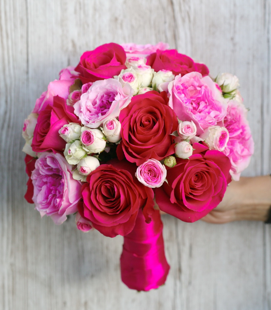 bridal bouquet (roses, david austin roses, spray roses, pink)