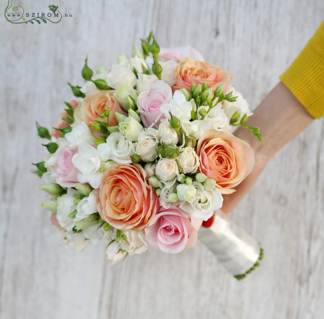 bridal bouquet (spray roses, roses,freesia, lizianthus, peach, white, pink)