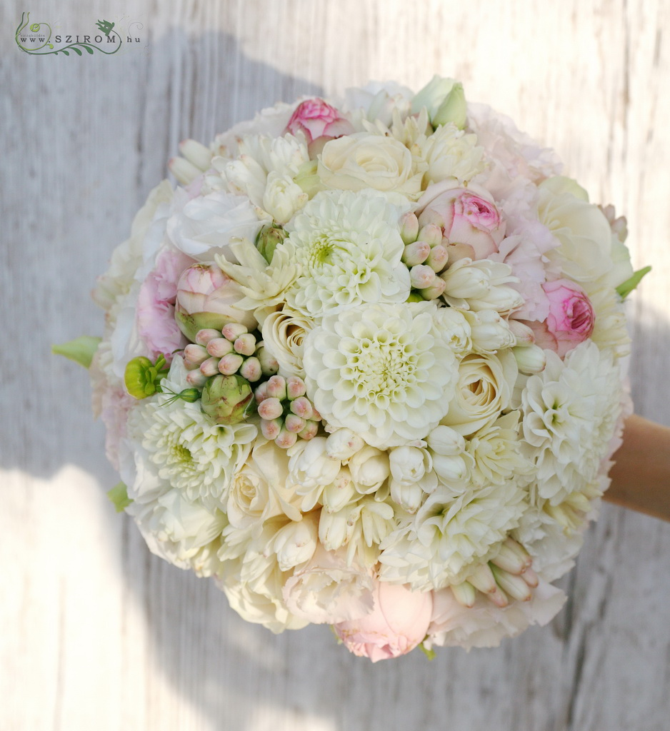 bridal bouquet (dahlia, tuberose, english roses, roses, white, pink)