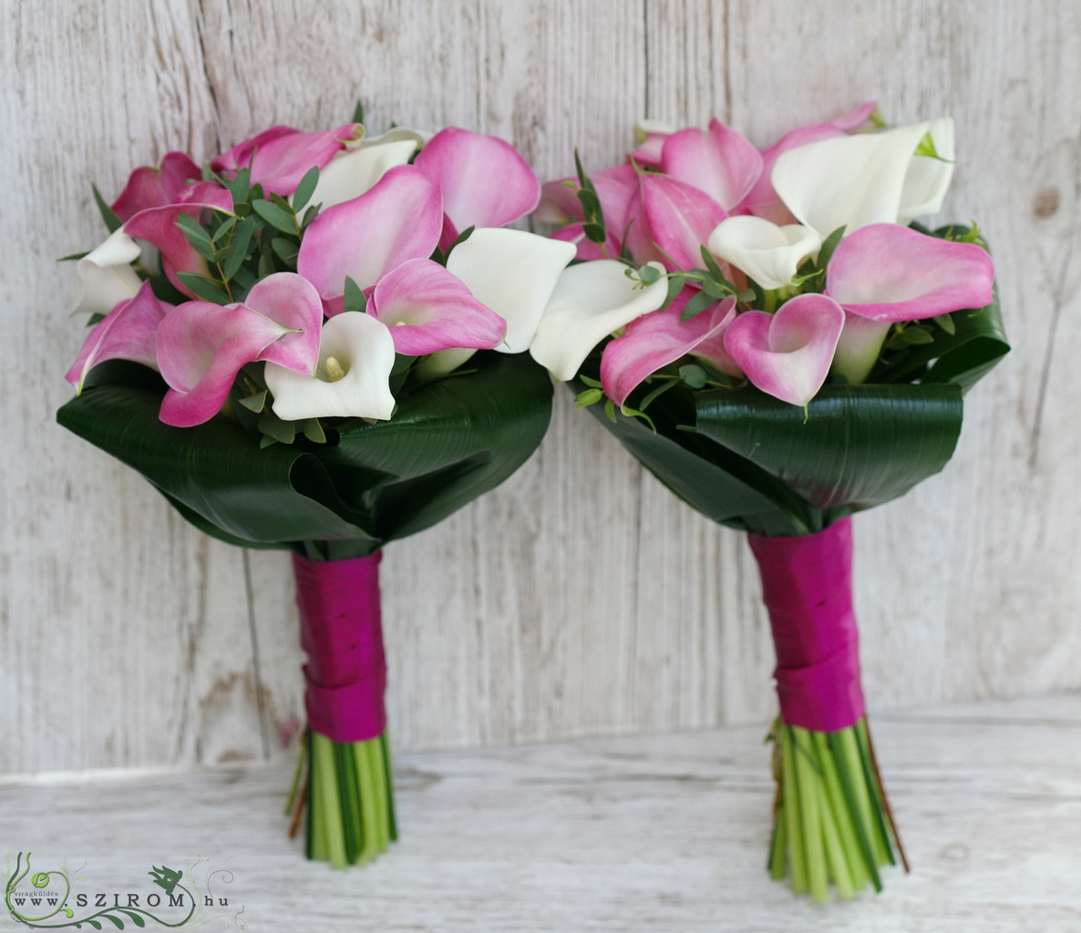 bridal bouquet (calla, white, pink)