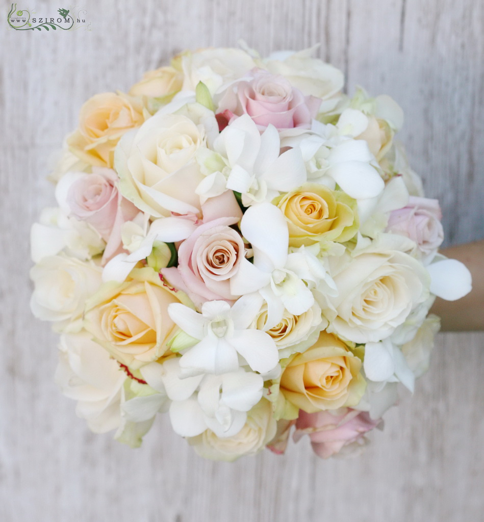 bridal bouquet (dendrobium, roses, peach, pink, white)