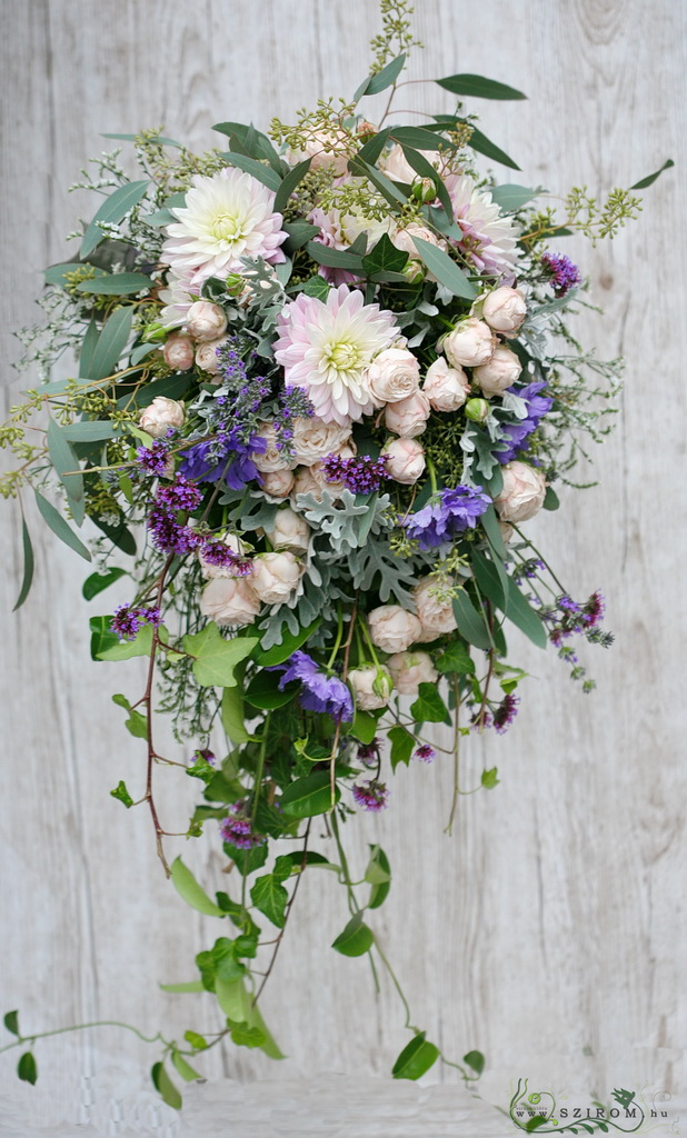 bridal bouquet (dahlia, scabiosa, roses, pink, purple)