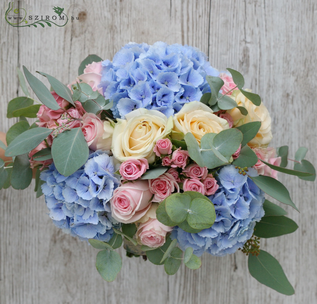 bridal bouquet (rose, spray roses, hydrangea, blue,peach, pink