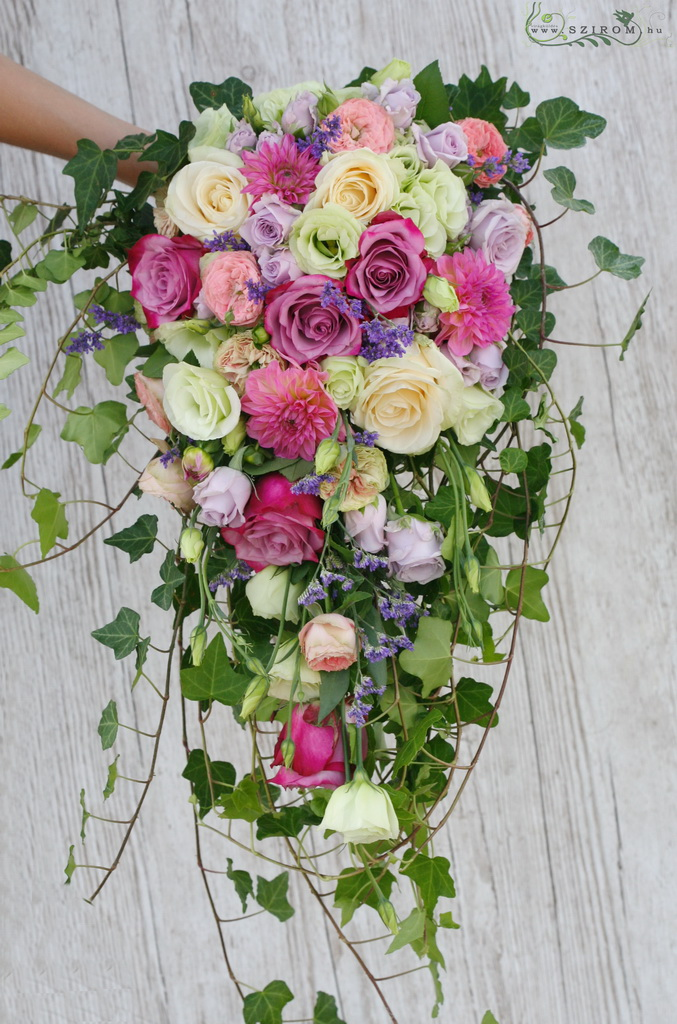 bridal bouquet ( roses, english roses, dahlia, lizianthus, purple, pink, peach )
