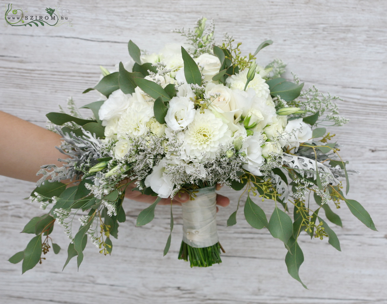bridal bouquet ( dahlia, lizianthus, spray roses, white )