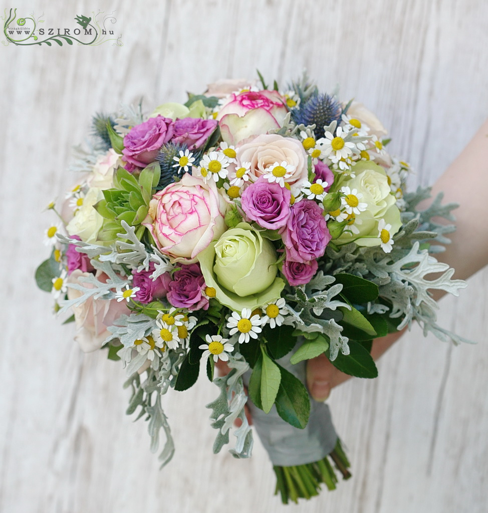 bridal bouquet ( roses, spray roses, chamomilla, sempervivum, , eryngium 9