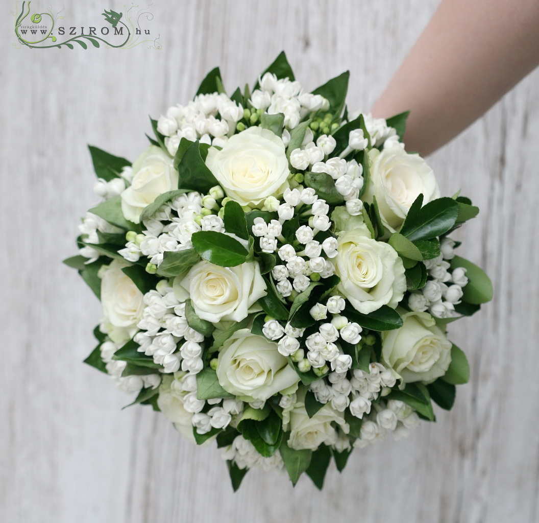 bridal bouquet ( roses, buvardia, white )