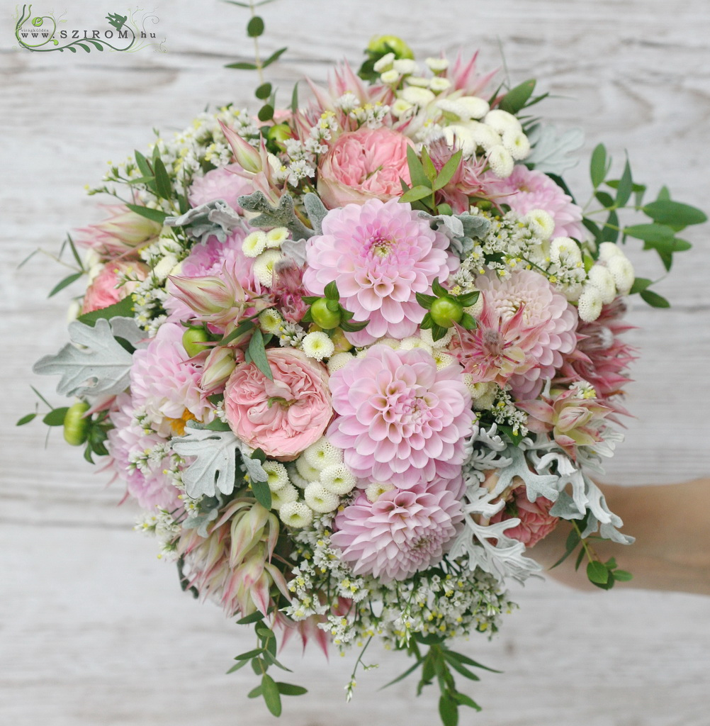 bridal bouquet ( english roses, protea, dahlia, matricaria, pink)