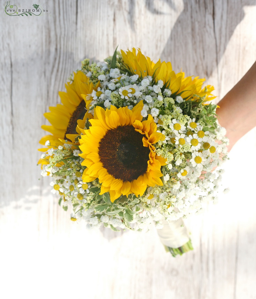 bridal bouquet (sunflower, chamomilla , baby breath, yellow, white)