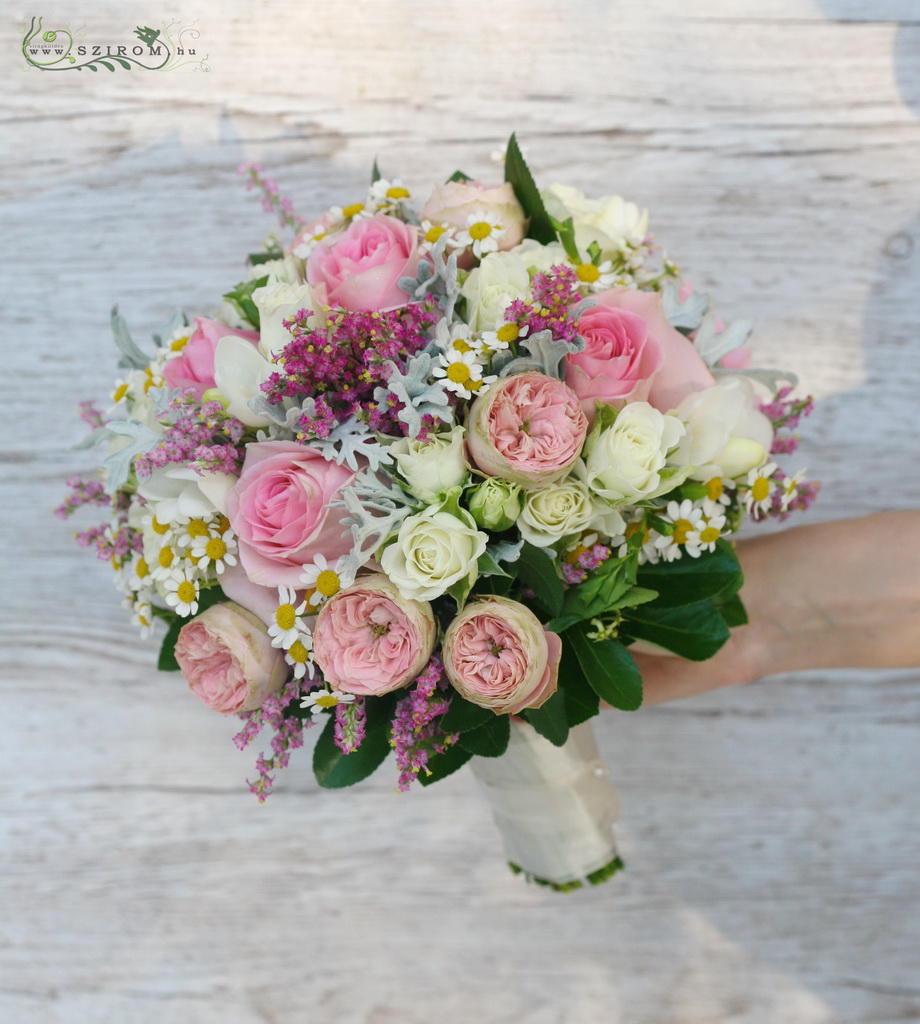 bridal bouquet ( english roses, roses, spray roses, limonium, chamomilla, pink )