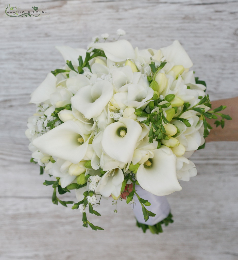 bridal bouquet (calla, baby breath, freesia, white )