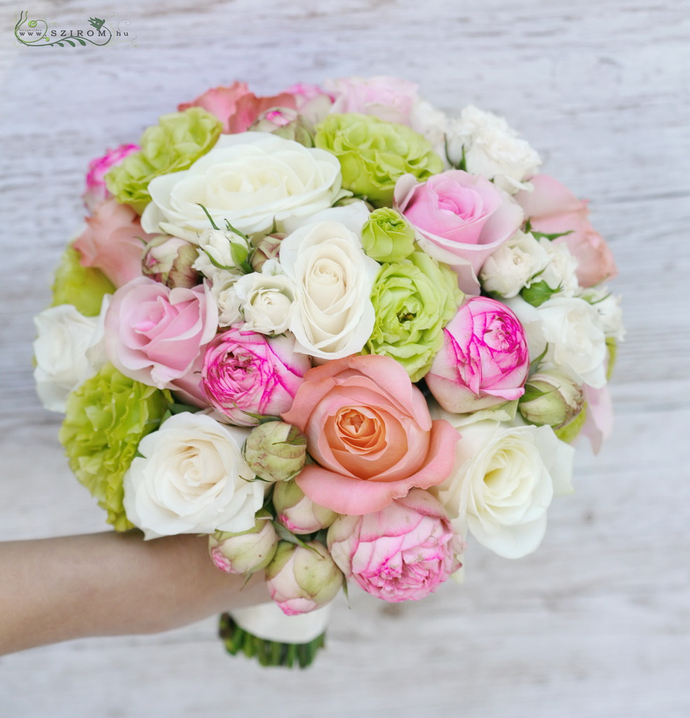 bridal bouquet ( roses, lizianthus, spray roses, english roses, green, pink, white)
